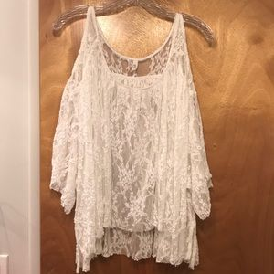 Free people white lace cold shoulder top